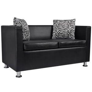 vidaXL-Sofa-2-Sitzer-Luxus-Kunstleder-Loungesofa-Couch-Sitzmoebel-Kissen-schwarz