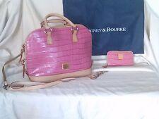 2 PC. Dooney & Bourke Pink Crocodile. Pattern Leather Zip Satchel Shoulder Bag