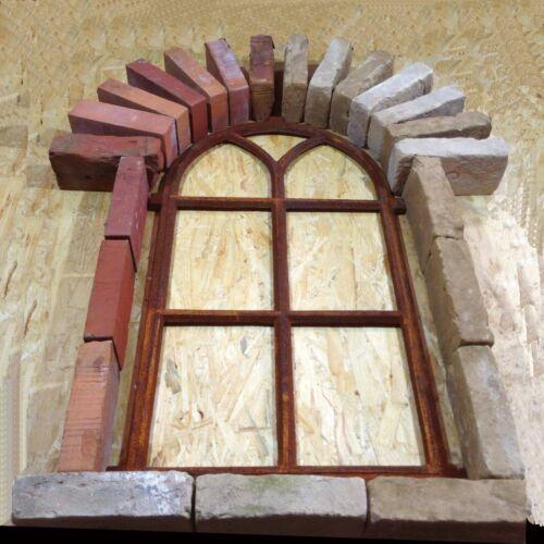 A902A Antik Stallfenster Natursteinmauer Eisenfenster Garten Ruine Trockenmauer