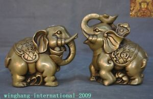 Old-China-Feng-Shui-bronze-auspicious-lucky-Yuanbao-Ruyi-animal-Elephant-statue