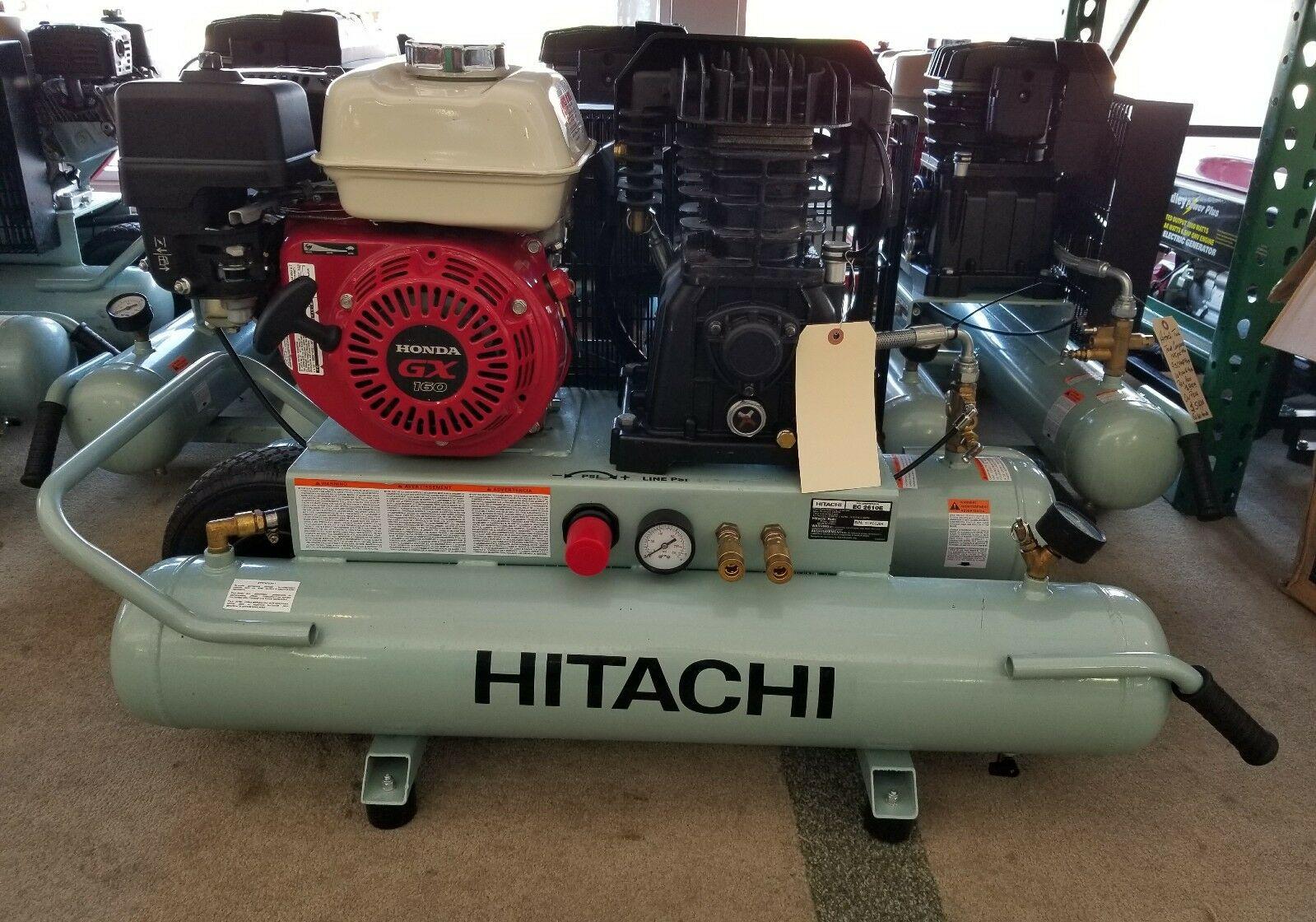 Hitachi Twin Tank Gas Portable Air Compressor with Honda GX160 Engine 8 Gallon. Available Now for 649.00