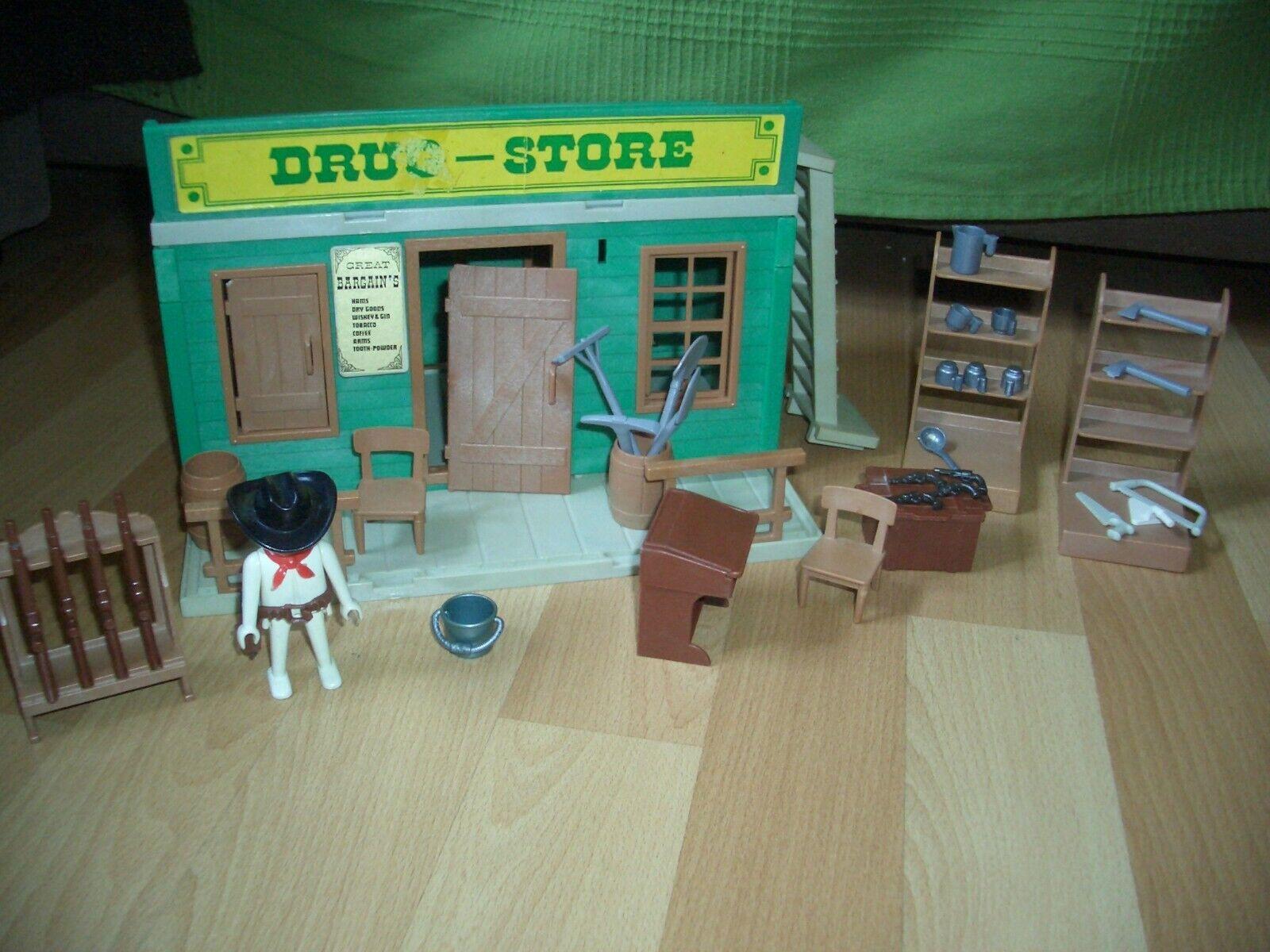 Playmobil drugstore western réf 3424 version n°1 de 1976 Très rare