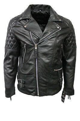 Deluxe Men/'s Racer Real Soft Black Nappa Leather Classic Biker Stylish Jacket