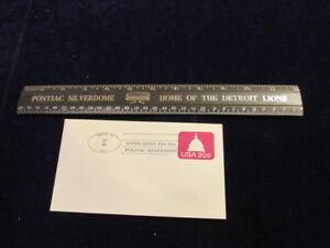 Vtg-Pontiac-Silverdome-Stadium-Detroit-Lions-Ruler-amp-1982-Super-Bowl-Envelope-A9