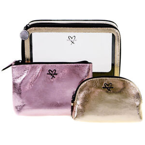 Details about Victoria's Secret Gold and Pink Cosmetic Makeup Bag 3 Piece Set