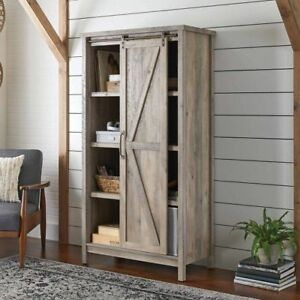 Tall Wood Storage Cabinet Rustic Pantry Cupboard Farmhouse