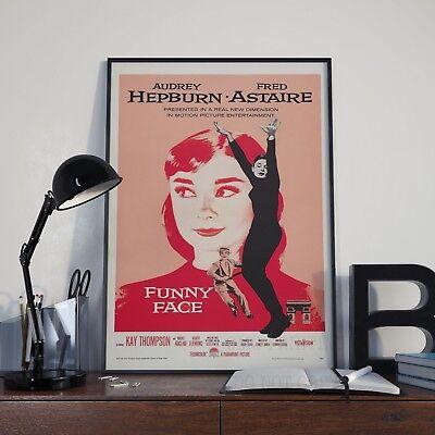 VINTAGE FUNNY FACE AUDREY HEPBURN MOVIE POSTER A2 PRINT