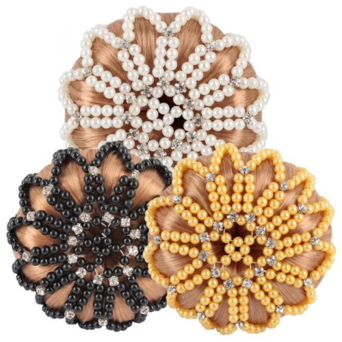 Horka Ladies Bun Hair Net Deluxe of Pearls Strass Stones Competition Accessories