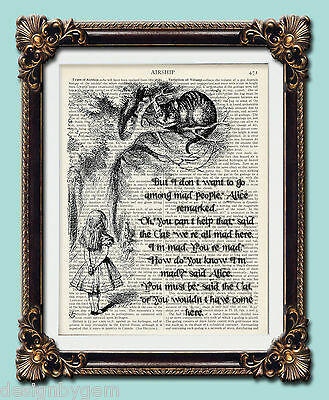 """Mad Cheshire Cat vintage Alice in Wonderland dictionary print 10""""x8"""""""