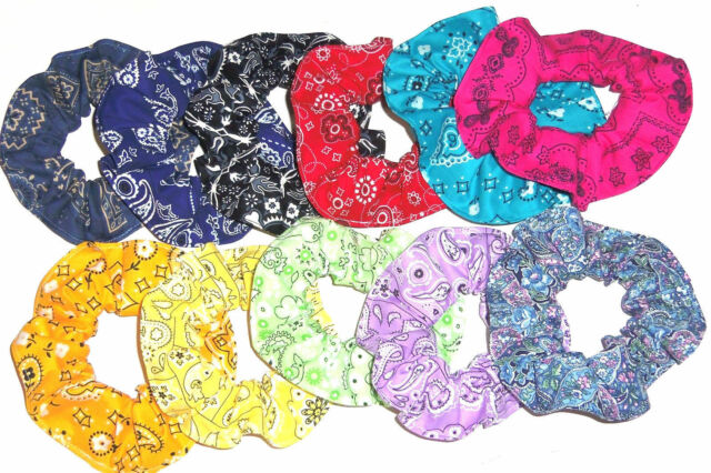 Hair Scrunchie Bandana Western Print Paisley Red Blue Pink Scrunchies by Sherry