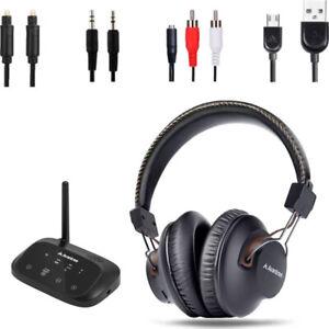 Avantree HT5009 Wireless TV Audio Bluetooth Headphones & 50m Transmitter Black