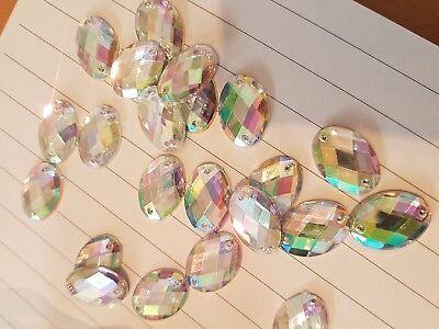 Clear AB 18mm Sew On Stitch JEWEL GEM CRYSTAL RHINESTONE Bead Crystal DANCE