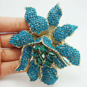 Fashion-Jewelry-Vintage-Style-Blue-Rhinestones-Crystal-Orchid-Flower-Brooch-Pin