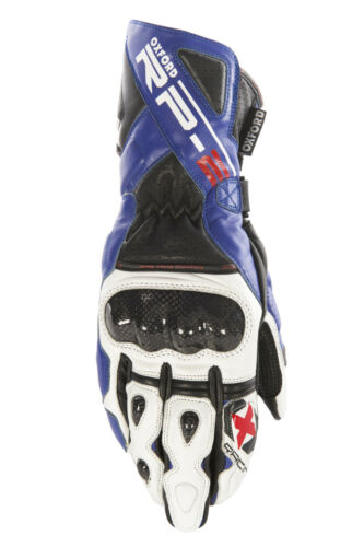 OXFORD RP-2 LEATHER ARMOURED SUMMER MOTORCYCLE SPORTS RACING GLOVES BLUE T