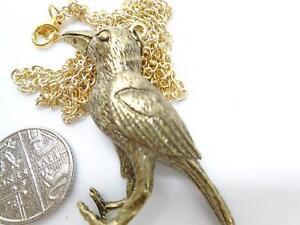 GOTHIC-JEWELLERY-HALF-BRASS-RAVEN-BIRD-amp-HALF-SKELETON-PENDANT-33-034-GOLD-chain