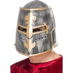 Medieval-Crusader-Helmet-w-Movable-Face-Shield-Fancy-Dress-King-Knight-Cosplay
