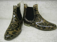 Ladies X1215 Tan Leopard Print Chelsea Boot Style Pvc Ankle Wellies