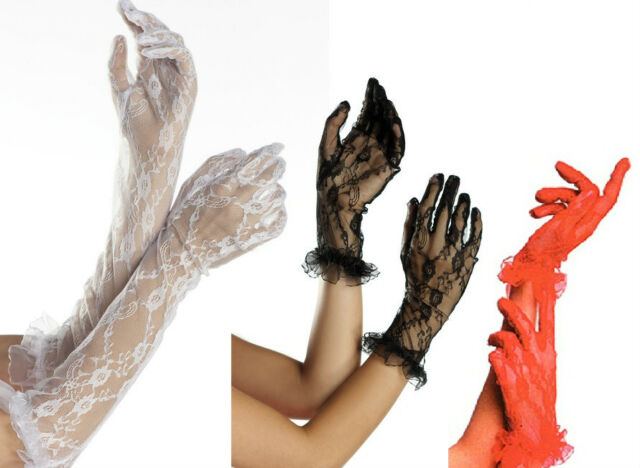 NEW sexy BE WICKED lace ruffled PARTY bridal GLOVES madonna 80's burlesque PUNK