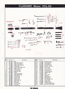 s l300 1980 yamaha musical instrument parts list ad sheet clarinet model