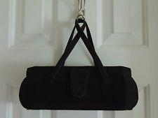 Vintage Brown Suede Feeling Box Style Handbag Purse Bag