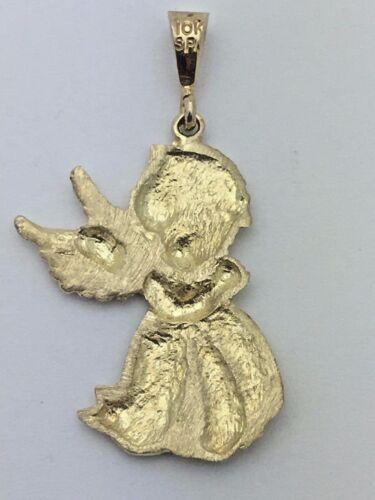 10K Solide Or Jaune Diamant Cut priant Little Angel Charm Pendentif 3.6 g