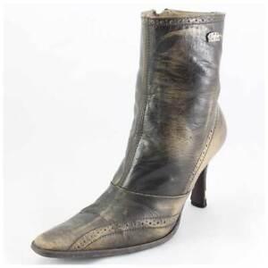 Buffalo Stiefeletten Gr. 37 Lederstiefel High Heels Boots braun (#2020)