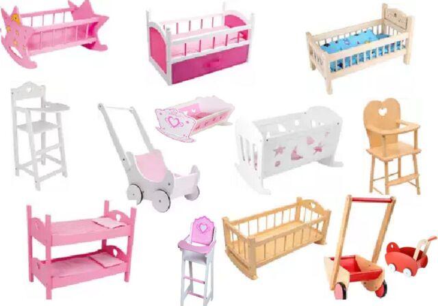 NEW Dolls Wooden Set High Chair Rocking Crib Cot Bed Pram Pushchair Girls Toys
