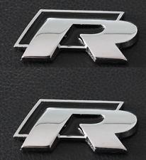 2 X BLACK VOLKSWAGEN VW R METAL WING BADGES GOLF SCIROCCO PASSAT MK7 LINE GTI UK