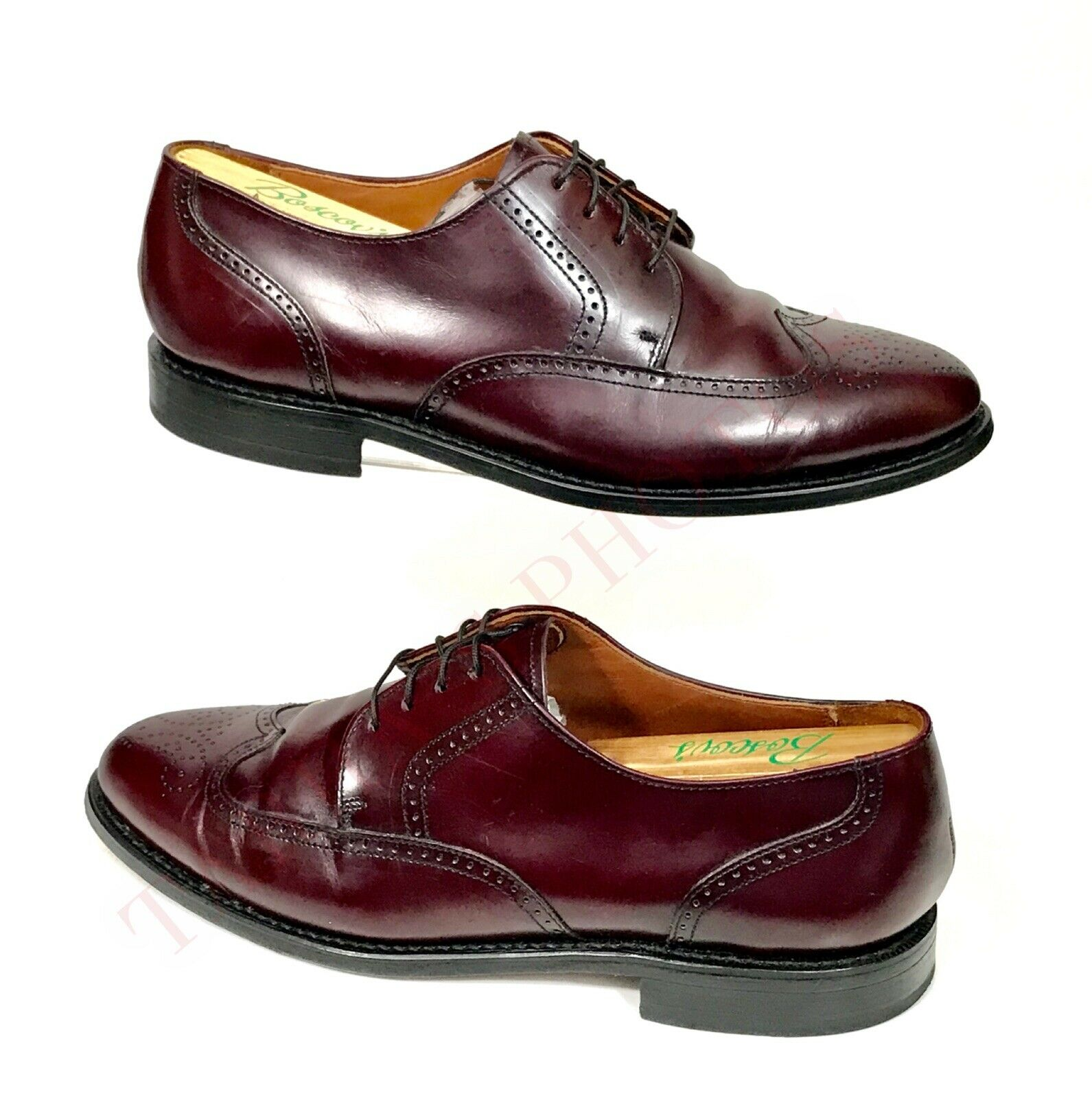 Bostonian Classic Leather Wingtip Oxford Dress shoes Burgundy Mens Size 8.5D EUC