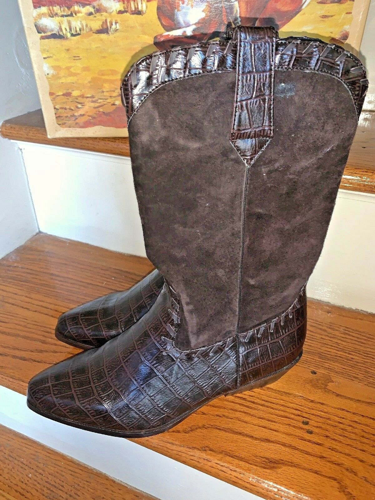 NIB Express Rider Dallas Western Faux Alligator Cowboy Boots Women's Size 9 10