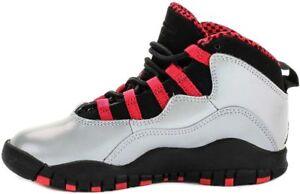 487212-009 Girl s Preschool (PS) Jordan 10 Retro Grey Red-Black ... a2f1873d3