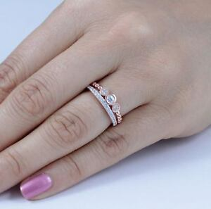 Rose Gold Over 925 Sterling Silver Cz 3 Stone Ring Wedding Band Size