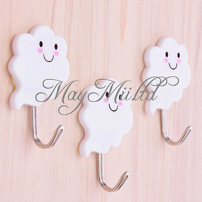 3X White Cloud Self Adhesive Sticky Stick On Hooks Kitchen Bathroom Towel JC