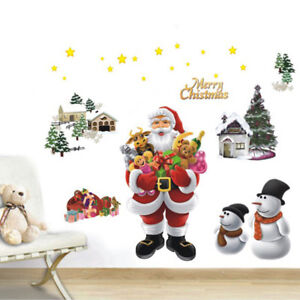 Santa-Claus-Noel-Wall-Stickers-walldecal-art-amovible-fenetre-murale-decor