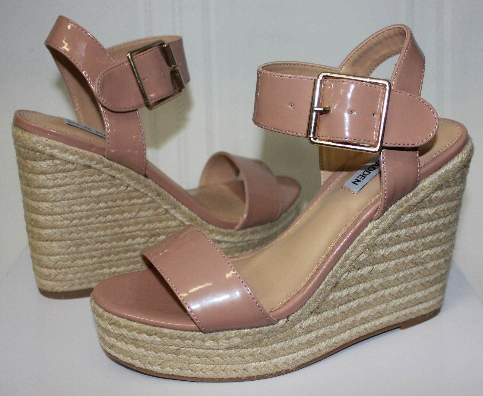 Steve Madden Santorini Espadrille Wedges Blush Patent NEU With Box