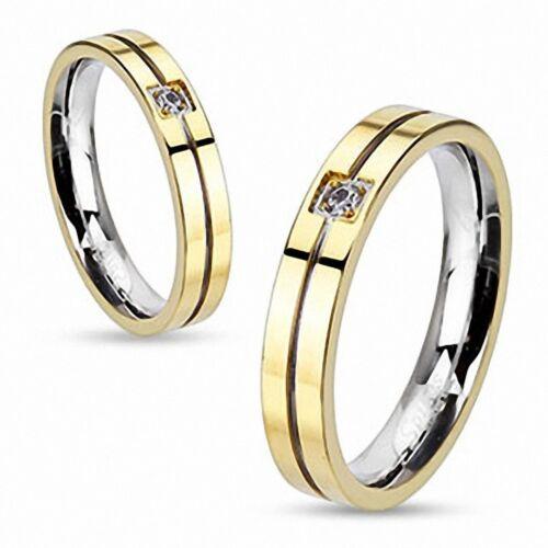 Damen Ring aus Edelstahl golden gerillt