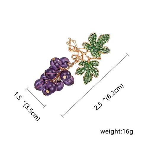 Pearl Crystal Rhinestone Fruit Grapes Enamel Brooch Pin Women Costume Jewelry