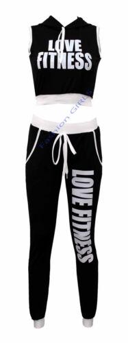 Womens 2Piece Love Fitness Tracksuit Ladies Crop Top /& Pant Set Gym Lounge Suit