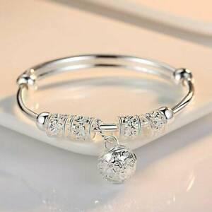 Hot-925-Sterling-Silver-Plate-Bead-Bracelet-Women-Bangle-Charm-Jewelry-Gift