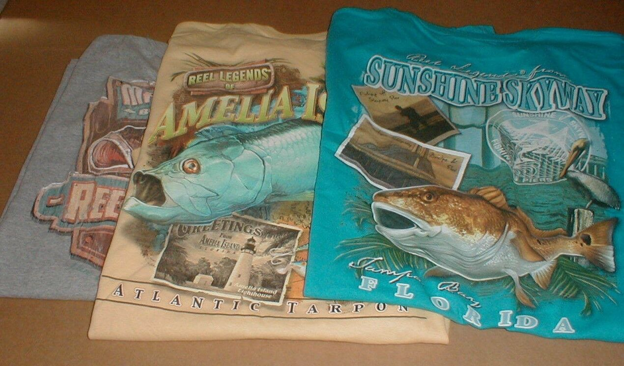 3 Tampa Bay Amelia Island FL Coast 2XL T-shirt Fishing unworn NEW short sleeve