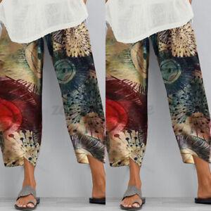 Oversize-Femme-Pantalon-Impression-Ample-Casual-en-vrac-Longue-Poche-Jaune-Plus