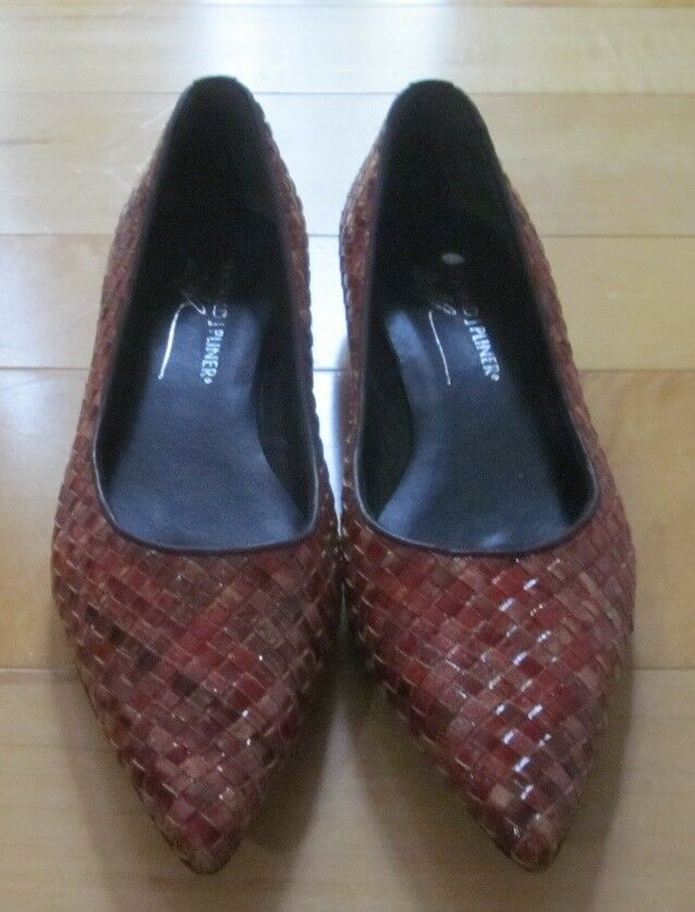 Donald J Pliner Wms Red marrone Pelle Basket Weave Pelle marrone Short Wedge Heel Loafers 6.5 3d630c
