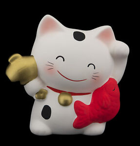 Hucha-Gato-Japones-10-5cm-amp-Su-Poisson-Manekineko-Fabricado-en-Japon-Blanco