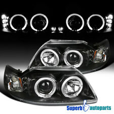 For 1999 2004 Ford Mustang Black Halo Projector Headlights Led Bar 99 04 Pair Fits Mustang