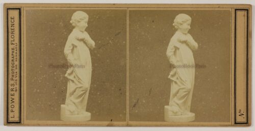 Florence Italy Photo L. Powers  Statue Valentine Stereo L5n22 Vintage Albumin