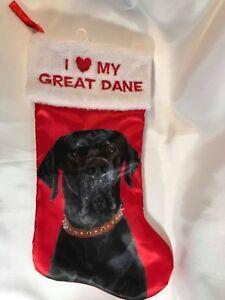 I Love My Great Dane Christmas Stocking  Red Satin w/ Image of Black Great Dane