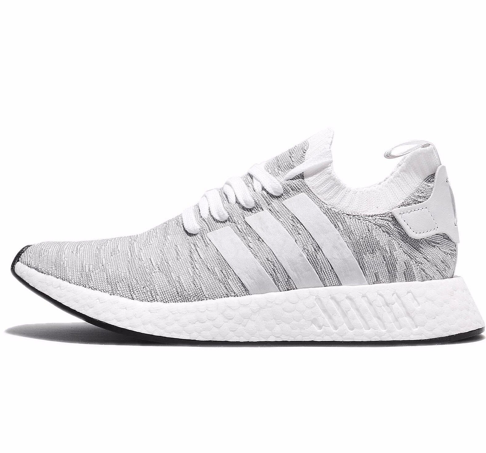 ADIDAS NMD R2 NMD_R2 PRIMEKNIT - WHITE/ gris / Noir /ORANGE - BY9410 -7, 10, 11