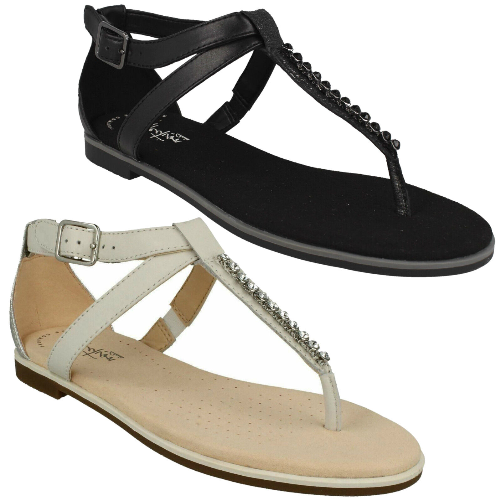 BAY POPPY LADIES CLARKS BUCKLE ANKLE STRAP TOE POST LEATHER FLAT T BAR SANDALS