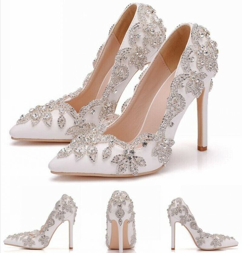 New donna Wedding 11cm High Heels Pointy Toe Slip On Party &bride Pumps US5-9.5