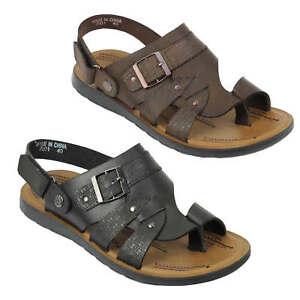 New-Mens-Real-Leather-Walking-Sandals-Black-Brown-Toe-Loop-Adjustable-Back-Strap